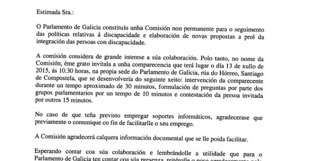 Invitación al Parlamento de Galicia